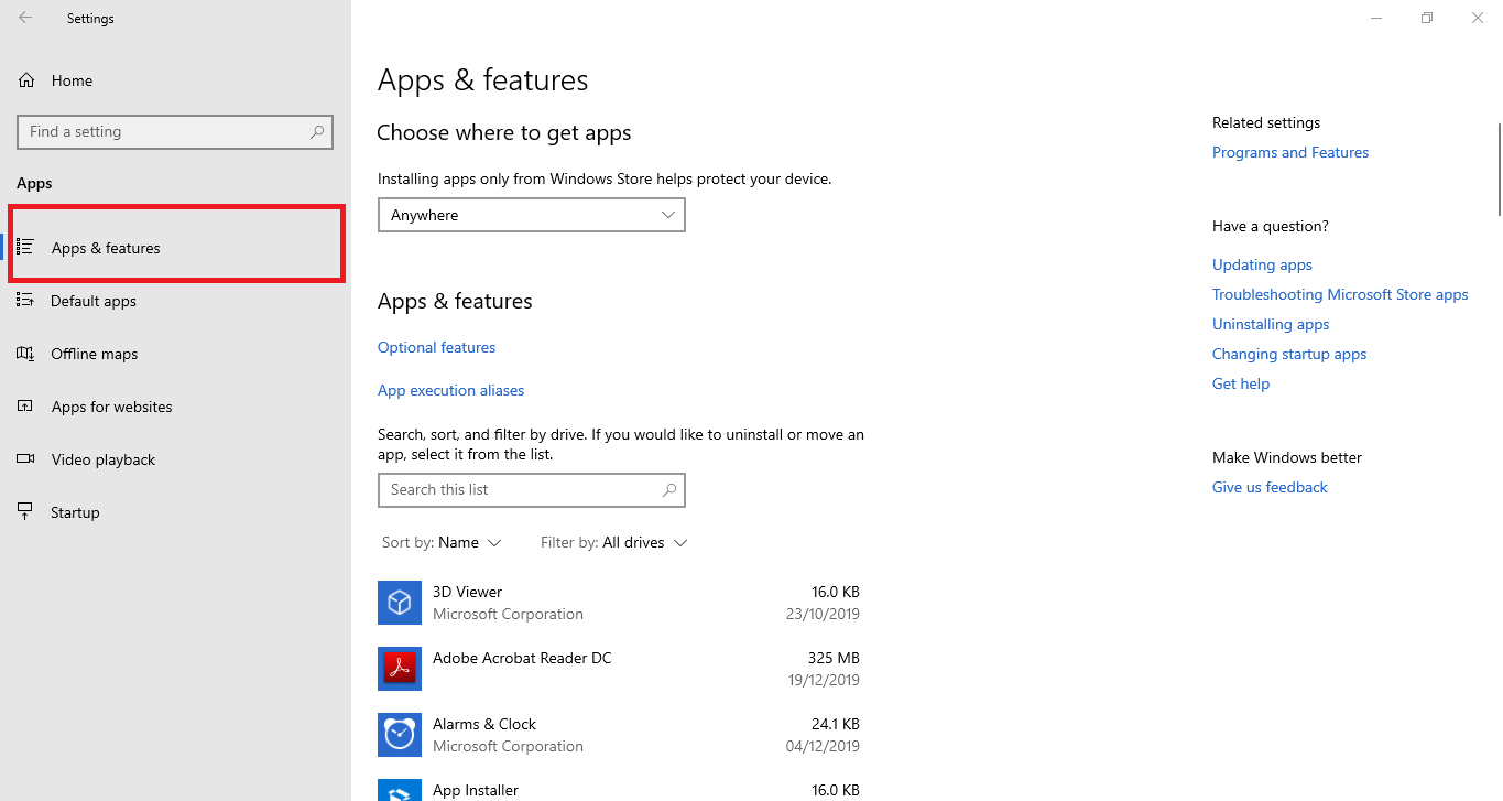 Uninstall: select apps and features