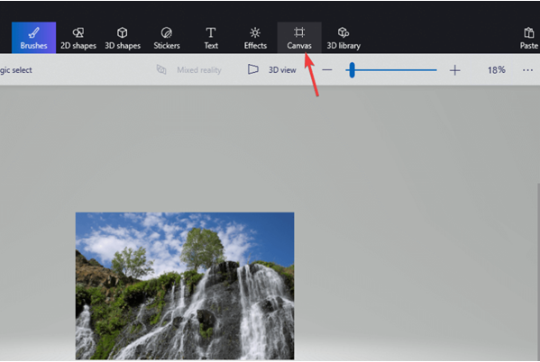 Canvas Selection in Paint 3D