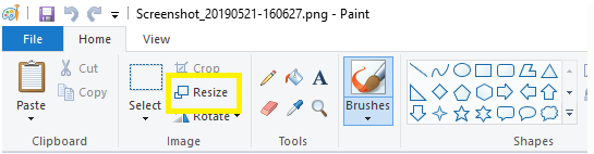 Resize Image Menu in MS Paint
