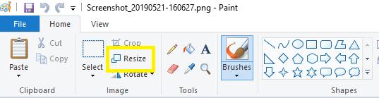 Resize with Paint: Choose Resize Option