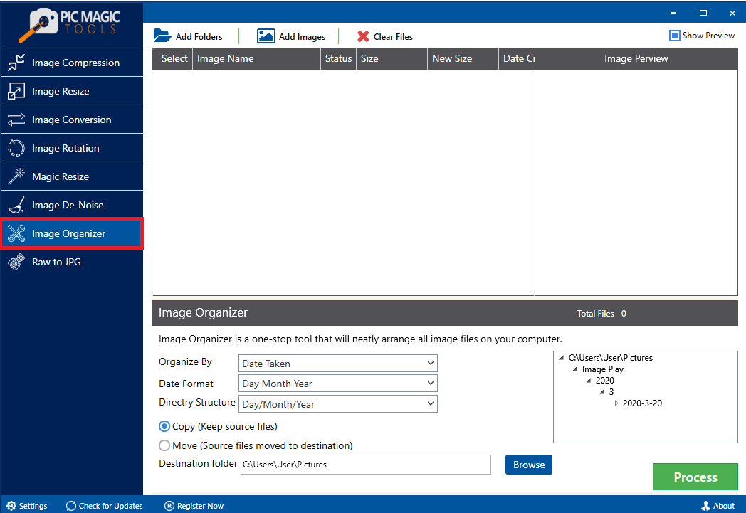 PicMagic Tools: Select Image Organizer Option