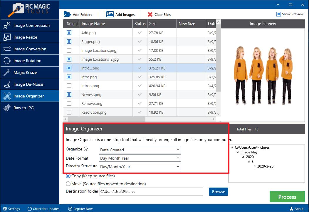PicMagic Tools: Select Organizing Settings