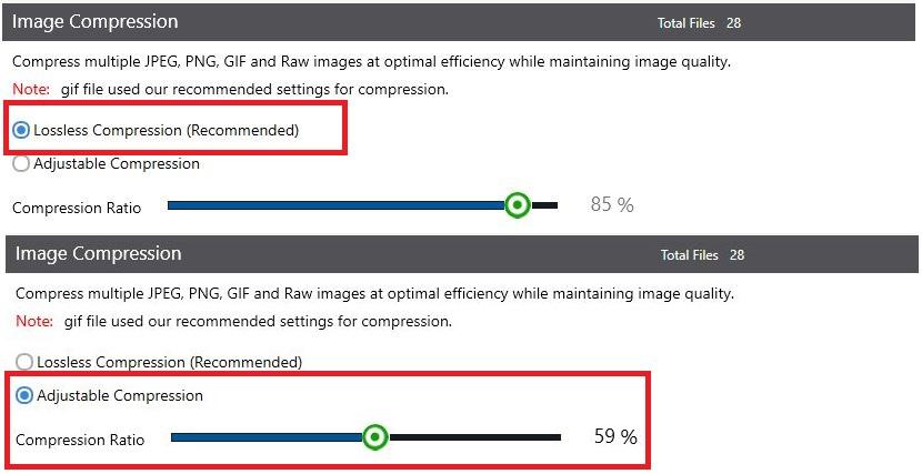 PicMagic Tools: Choose compression function