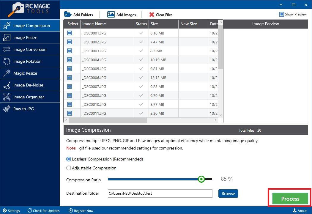PicMagic Tools: Start Compression Process