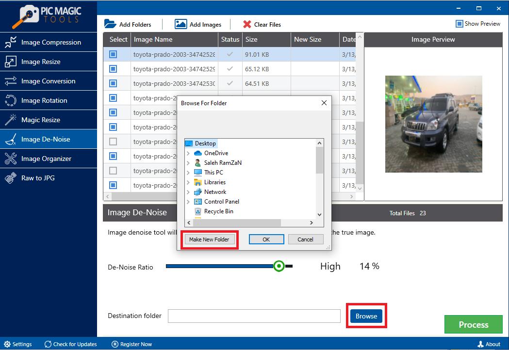 PicMagic Tools: Create New Destination Folder