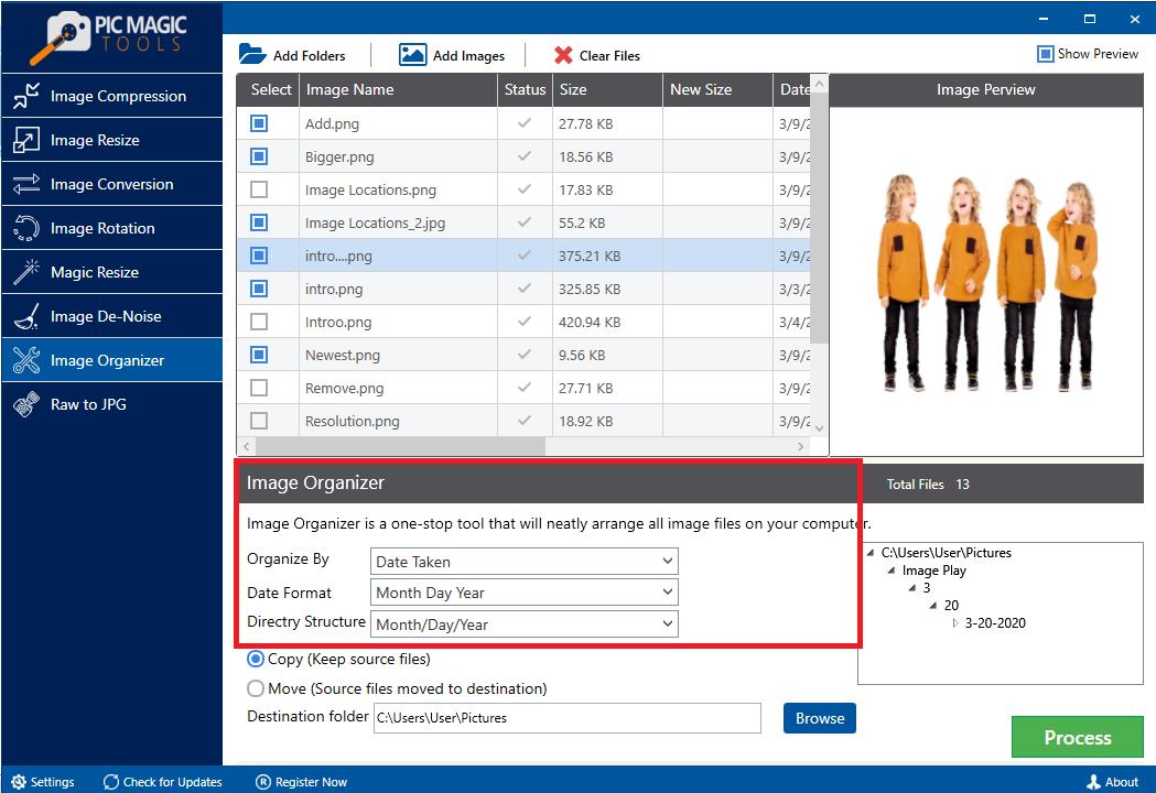 PicMagic Tools: Choose Organizing Option Date Taken