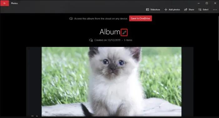 Windows Photo App: Create Album Name