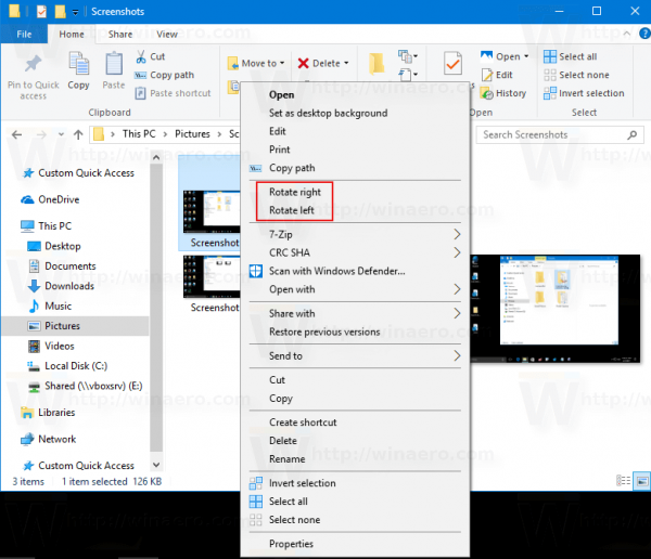 File Explorer: Rotate with Right Click