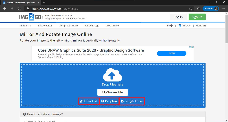 Online Rotation: Choose or Drag Images